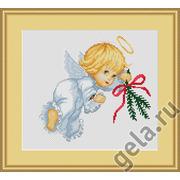 """Набор для вышивания крестом Luca-S """"Ангелок с еловой веткой"""""""