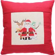 """Набор для вышивания крестом Luca-S подушка """"Дед Мороз, олененок и снеговик"""""""