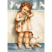 """Набор для вышивания крестом Luca-S """"Девочка с куклой"""""""