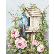 """Набор для вышивания крестом Luca-S """"Птичий дом и розы"""""""