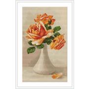 """Набор для вышивания крестом Luca-S """"Оранжевые розы в белой вазе"""""""