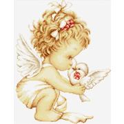 """Набор для вышивания крестом Luca-S """"Ангелочек с голубями"""""""
