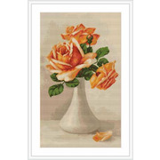 """Гобелен Luca-S """"Оранжевые розы в белой вазе"""""""