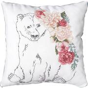 """Набор для вышивания крестом Luca-S подушка """"Медведь с гирляндой цветов"""""""