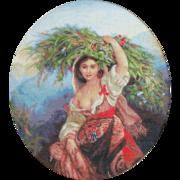 """Гобелен Luca-S """"Итальянка с цветами"""""""