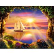 """Набор для выкладывания мозаики Алмазная живопись """"Корабль на закате"""""""