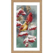 """Набор для вышивания крестом Vervaco """"Алые и снежные кардиналы"""""""