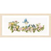 """Набор для вышивания крестом LANARTE """"Синие птички и цветы"""""""