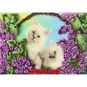 """Набор для вышивания крестом Каролинка """"Коты в корзине"""""""