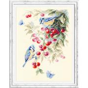 """Набор для вышивания крестом Чудесная игла """"Синицы и вишня"""""""