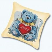 """Набор для вышивания крестом Белоснежка подушки """"Медвежонок с сердцем"""""""