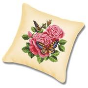"""Набор для вышивания крестом Белоснежка подушки """"Бабочки и розы"""""""
