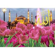 """Ткань с рисунком для вышивки бисером Каролинка """"Тюльпаны у голубой мечети"""""""