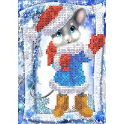 """Канва/ткань с нанесенным рисунком Каролинка """"Мышка с подарками"""""""