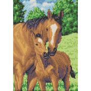 """Канва/ткань с нанесенным рисунком Каролинка """"Мамы и их зверята. Лошади"""""""