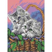 """Канва/ткань с нанесенным рисунком Каролинка """"Мамы и их зверята. Котята в корзинке"""""""