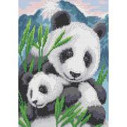 """Канва/ткань с нанесенным рисунком Каролинка """"Мамы и их зверята. Панды"""""""