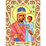 """Ткань с рисунком для вышивки бисером Божья коровка """"Богородица призри на смирение"""""""