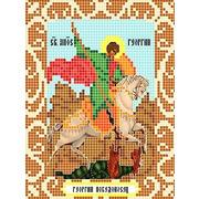 """Ткань с рисунком для вышивки бисером Божья коровка """"Святой Георгий Победоносец"""""""