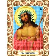 """Ткань с рисунком для вышивки бисером Божья коровка """"Иисус в терновом венце"""""""