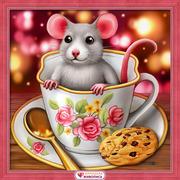 Набор для выкладывания мозаики Алмазная живопись «Крысенок в чашке»