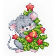 """Набор для вышивания крестом Овен """"Мышонок с елкой"""""""