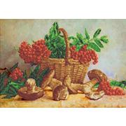 """Канва/ткань с нанесенным рисунком Каролинка """"Корзина с рябиной и грибами"""""""
