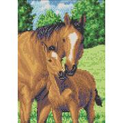 """Набор для вышивания бисером Каролинка """"Мамы и их зверята. Лошади"""""""