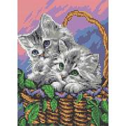 """Набор для вышивания бисером Каролинка """"Мамы и их зверята. Котята"""""""