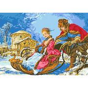 """Канва с нанесенным рисунком Каролинка """"Зимнее катание"""""""