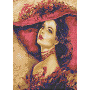 """Канва/ткань с нанесенным рисунком Каролинка """"Дама в шляпе"""""""
