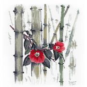 """Набор для вышивания крестом Овен """"Камелии в бамбуковой роще"""""""