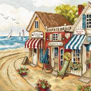 """Набор для вышивания крестом Letistitch """"Магазины у моря"""""""