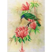 """Набор для вышивания крестом М.П. Студия """"Птичка с цветами"""""""