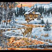 """Набор для вышивания крестом Luca-S """"Хижина в лесу"""""""