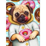 """Набор для выкладывания мозаики Алмазная живопись """"Мопс и пончики"""""""