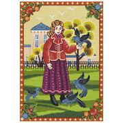 """Набор для вышивания крестом Nitex """"Девочка и голуби"""""""