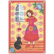 """Набор для вышивания крестом Nitex """"Девочка и кот"""""""