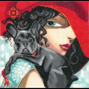 """Набор для вышивания крестом Nitex """"Дама с собачкой"""""""
