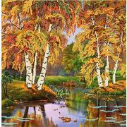 """Ткань с рисунком для вышивки бисером Божья коровка """"Осень"""""""