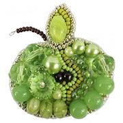 """Аксессуары Crystal Art Набор для изготовления броши """"Зелёное яблоко"""""""
