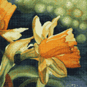 """Ткань с рисунком для вышивки бисером Золотой восход """"Нарциссы"""""""