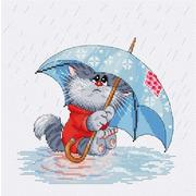 """Набор для вышивания крестом Белоснежка """"Кошарик под дождем"""""""