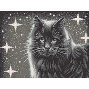 """Канва/ткань с нанесенным рисунком Конёк """"Черный кот"""""""