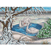 "Канва/ткань с нанесенным рисунком Конёк ""Лебеди у пруда"""