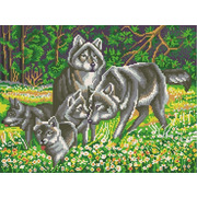"""Канва/ткань с нанесенным рисунком Конёк """"Волчья семья"""""""
