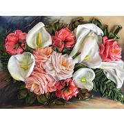 """Набор для вышивания лентами Каролинка """"Каллы с розами"""""""