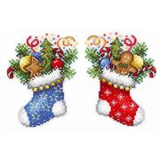 """Набор для вышивания крестом Жар-птица (от МП-Студии) """"Новогодний носок"""""""