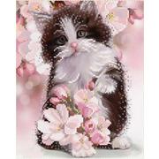 """Ткань с рисунком для вышивки бисером Конёк """"Весенний котенок"""""""