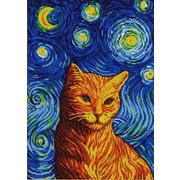 """Ткань с рисунком для вышивки бисером Конёк """"Рыжий кот Гоша"""""""